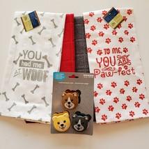 Dog Lover Kitchen Set, 7-pc, Pet Decor, Tea Towels, Clips, Red Grey
