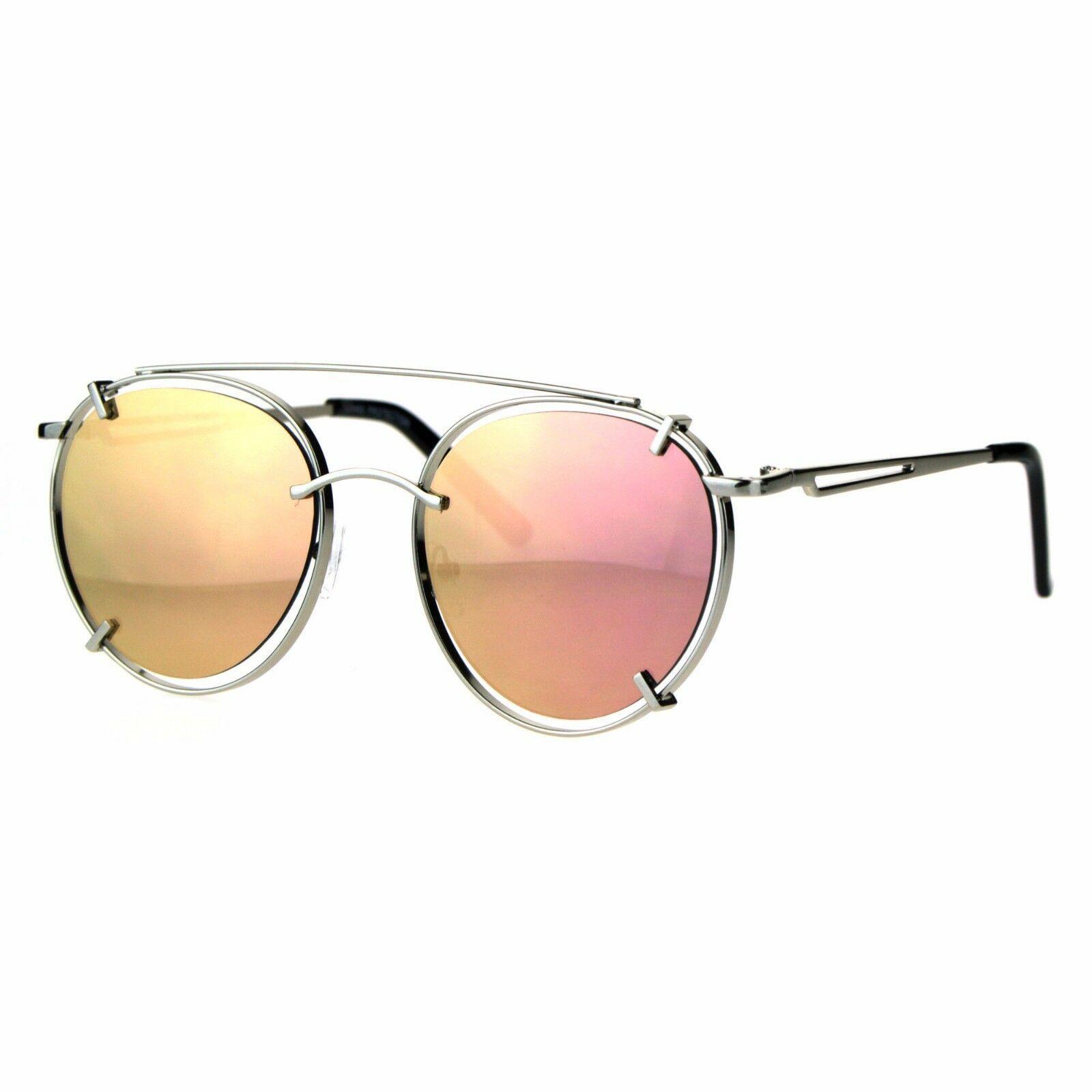Pink Mirrored Lens Sunglasses Vintage Retro Fashion Round Aviator UV 400