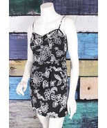 American Eagle 2 Black White Floral Peplum Retro Pinup Rockabilly Sun Dr... - $14.84