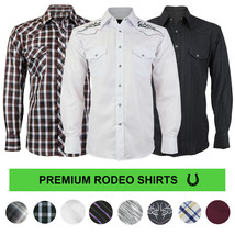 LW Men's Western Cowboy Pearl Snap Button Long Sleeve Casual Rodeo Dress Shirt