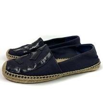 Tory Burch Lonnie Espadrille Blue Navy Canvas Leather Shoes Flats Sz 8 - $52.25