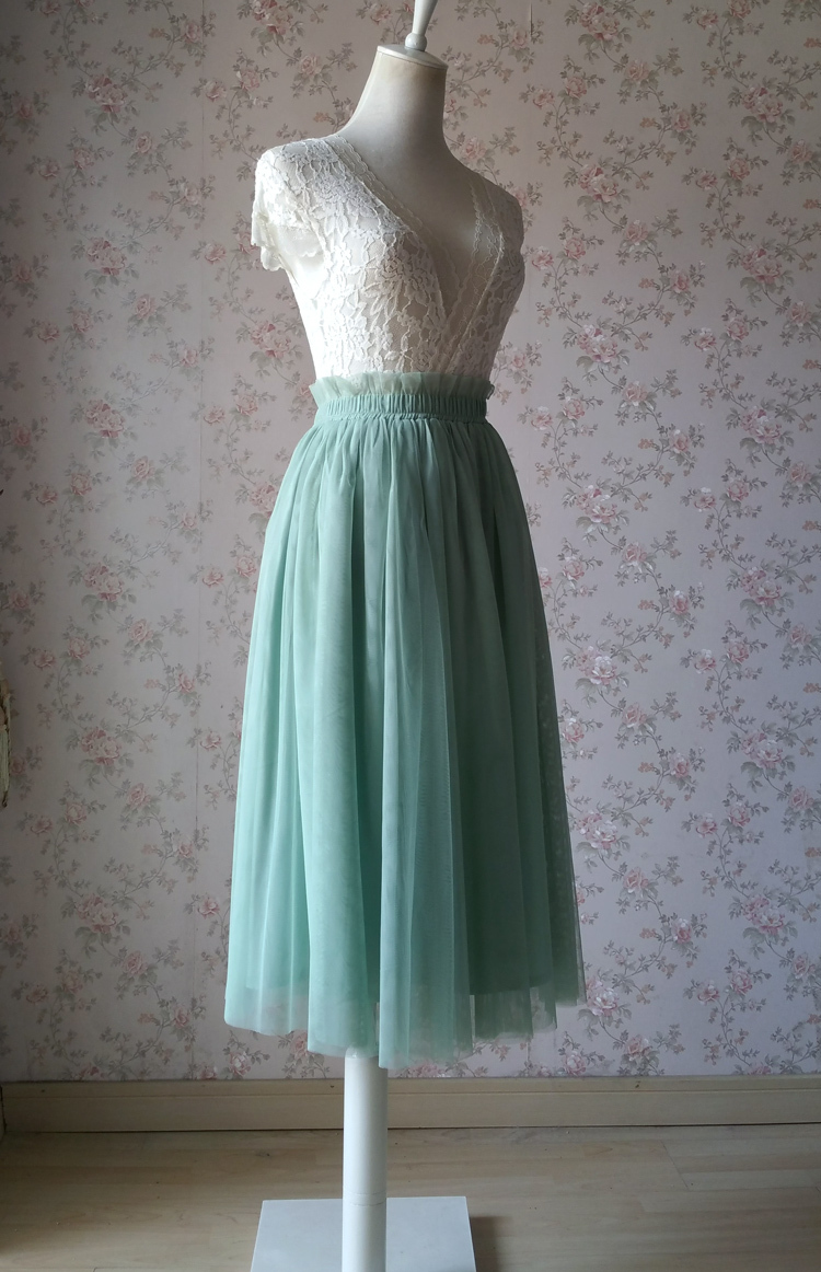 Sage green tulle midi skirt 750 04