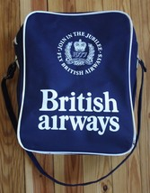 Vtg 1977 British Airways Jubilee Cabin Shoulder Bag Blue England Made He... - $42.74