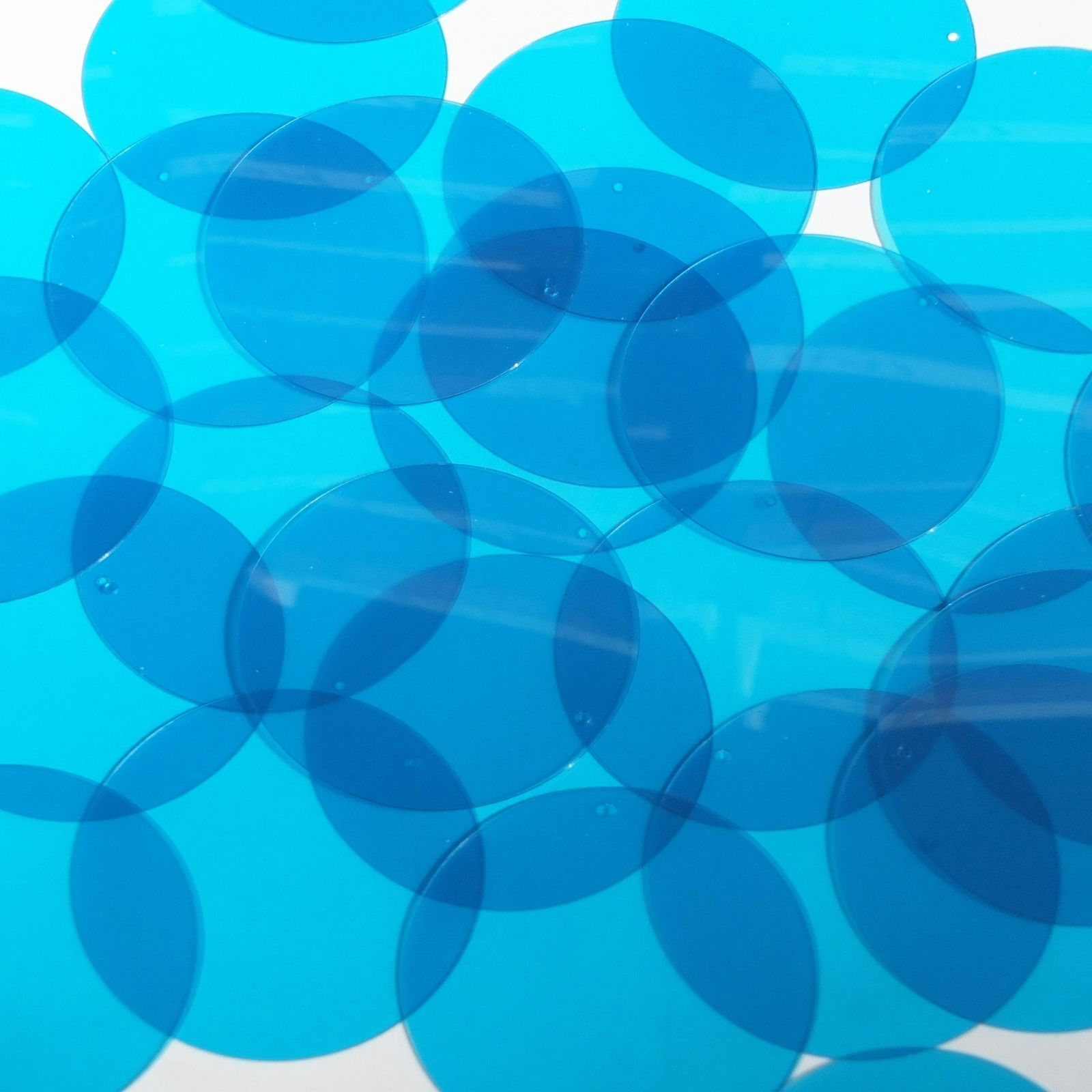 Primary image for Round Sequin 40mm Dark Aqua Blue Transparent Glossy Matte Reversible Paillettes
