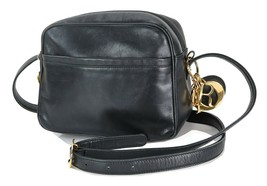 Authentic Vintage CHRISTIAN DIOR Black Leather Shoulder Bag Purse #34823 - $379.00