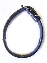 Dog Collar Rolled Around Soft Leather Black Paw Pet Puppy Strap Durable #MCK11 - $14.17