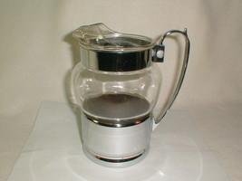 Retro glass chrome pitcher killer design 1960s bar kitchen rare ice lip ... - $75.00