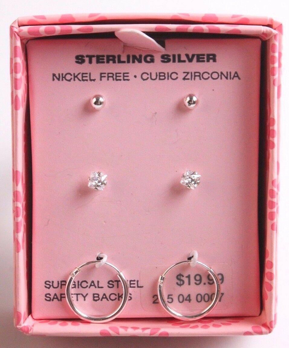 3 Mädchen Sterlingsilber 925 Cubic Zirkonia Kristall Kreolen Ohrstecker Neu Ovp