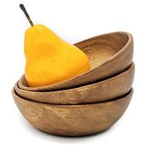 "Acacia Wood Bowl 6"" set of 3 for Soup, Salad, Fruits, Chips etc.  -Handm... - $15.00"