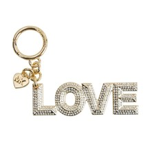Michael Kors Gold Pave Crystal Pyramid Stud Love Key Chain Bag Charm NWT