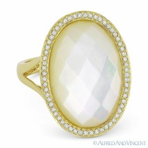 Checkerboard Mother-of-Pearl & 0.20 ct Diamond Cocktail Ring in 14k Yell... - $692.99