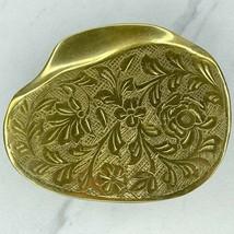 Vintage Gold Tone Floral Belt Buckle Scarf Slide - $19.34
