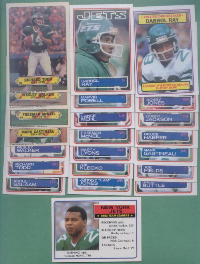 1983 Topps New York Jets Football Set