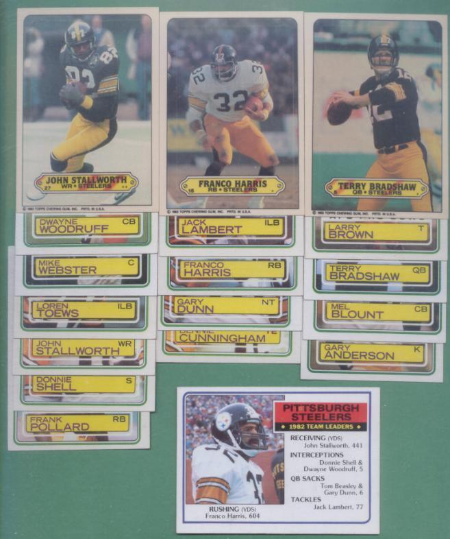 1983 Topps Pittsburgh Steelers Football Set