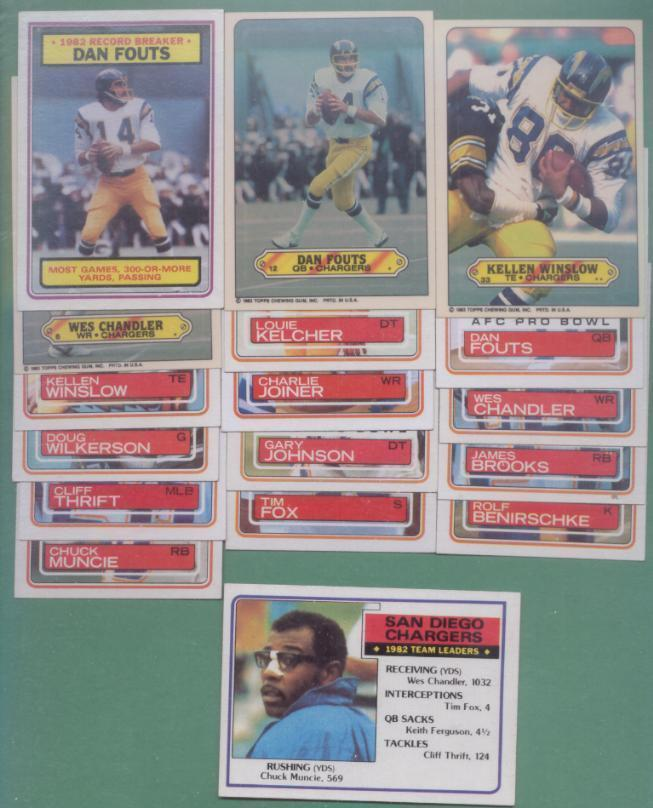 1983 Topps San Diego Chargers Football Set