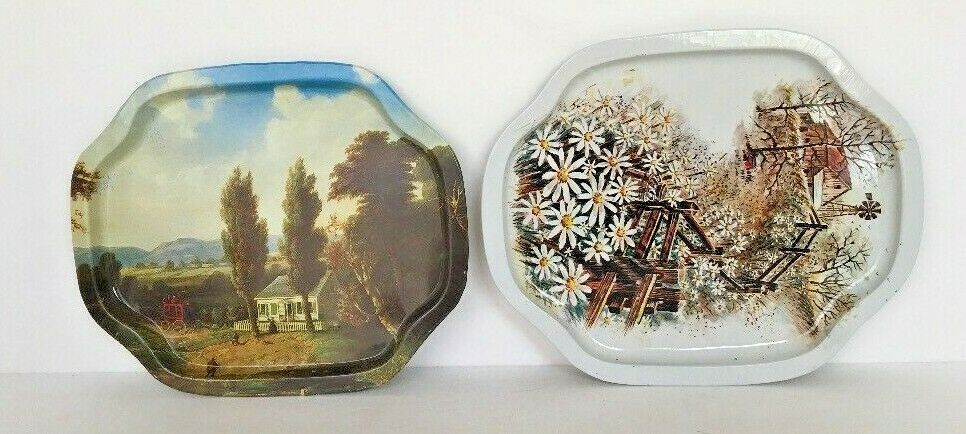 "Primary image for Lot of 2 Trays Metal Country Floral Candy Cookies Coins Key 7 1/2"" l x 6 1/2"" w"