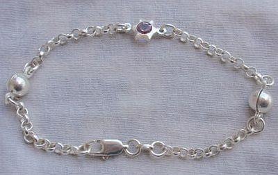 Silver bracelet with purple star 1