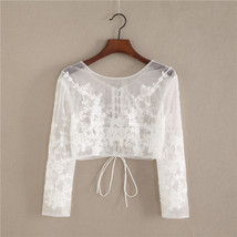 White Floral Tulle Lace Tops Bridesmaids Crop Lace Shirts-crop sleeve,white,plus image 7