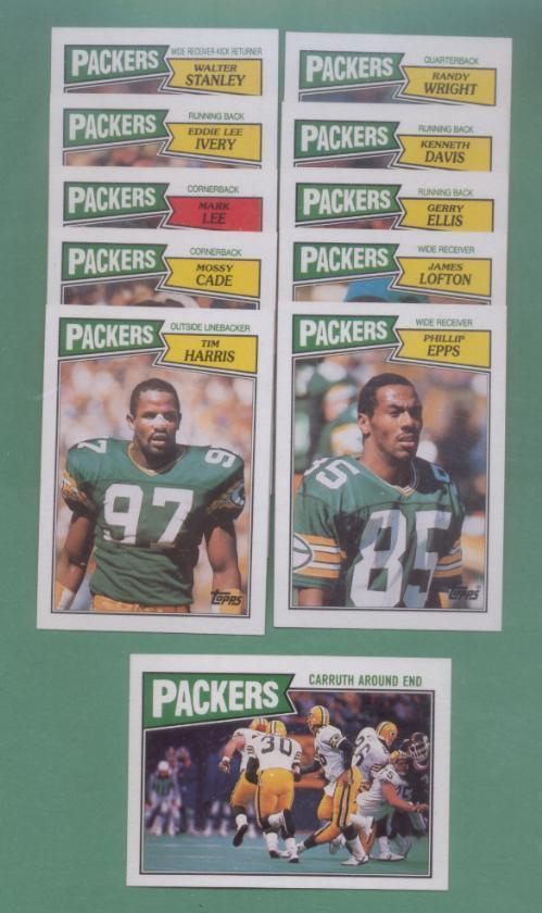 1987 Topps Green Bay Packers Football Set