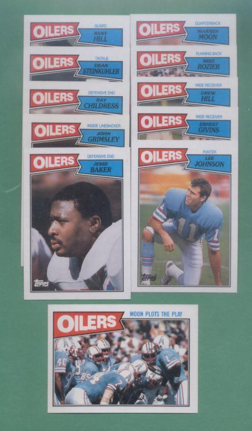 1987 Topps Houston Oilers Football Team Set