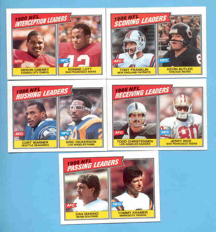 1987 Topps League Leaders Football Set