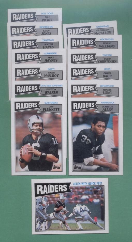 1987 Topps Los Angeles Raiders Football Team Set