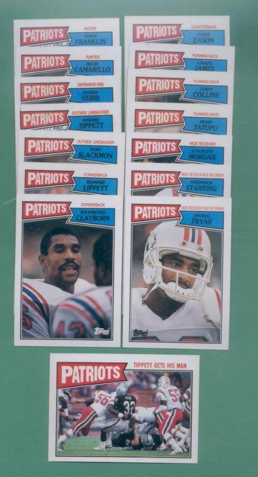 1987 Topps New England Patriots Football Team Set