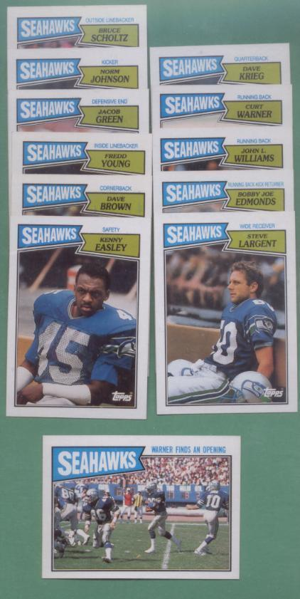 1987 Topps Seattle Seahawks Football Team Set
