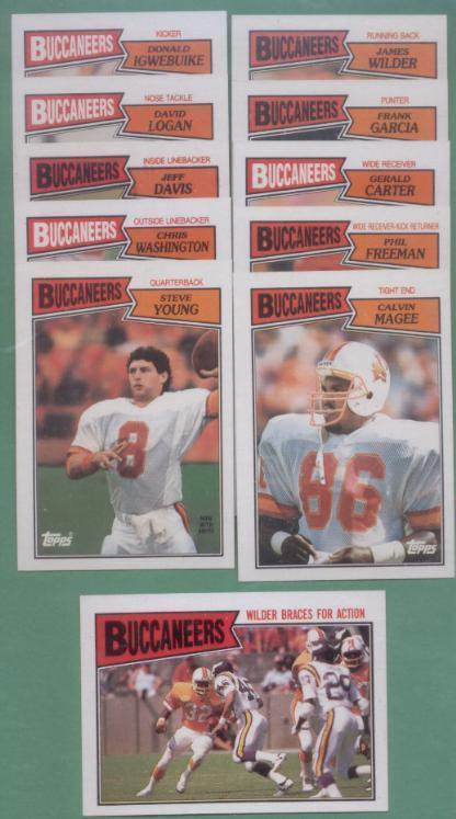 1987 Topps Tampa Bay Buccaneers Football Team Set