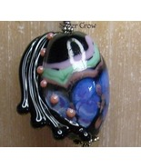 Abstract Modern Lamp Work Black,Blue & Green & Sterling Silver  Pendant - $30.99
