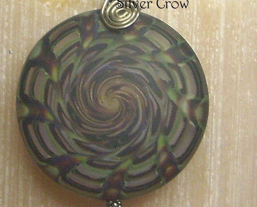 Smoky Green & Purple Spiral Lamp Work Sterling Silver Pendant