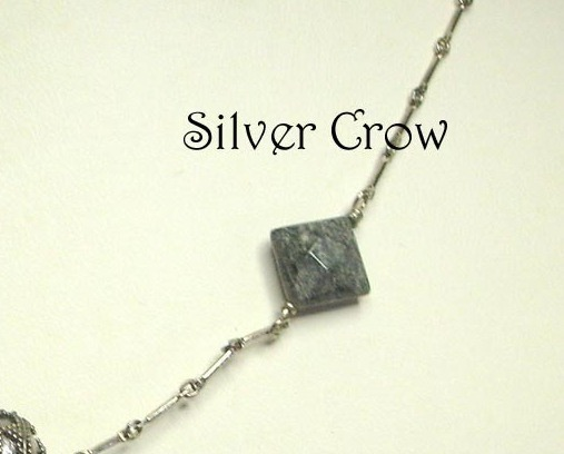 Silver Leaf Gemstone , Textured Bali Focal Sterling Silver Chain Necklace