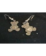 Cute Pair Sterling Silver Teddy Bear Heart in the Center Pierced Dangle ... - $14.84