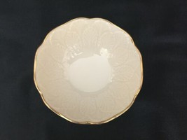 Vintage Lenox Cream Beige 24k Gold Rim Encrusted Bowl Made in USA Leaf Leaves image 2