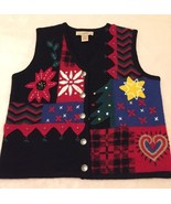 Telluride Clothing Co Christmas Sweater Vest Boiled Wool Vtg Ugly Party ... - $29.69