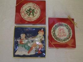 Lot of 3 Kurt S. Adler Porcelain Boy Pulling Girl in Sleigh & Two Dicksons Sign - $13.99