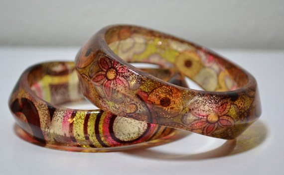 Set Of 2 ( 2 Pieces Bracelet ) Colorfull Resin-Bangles Bracelet
