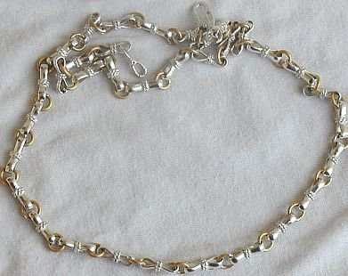 Silver and metal necklace unisex