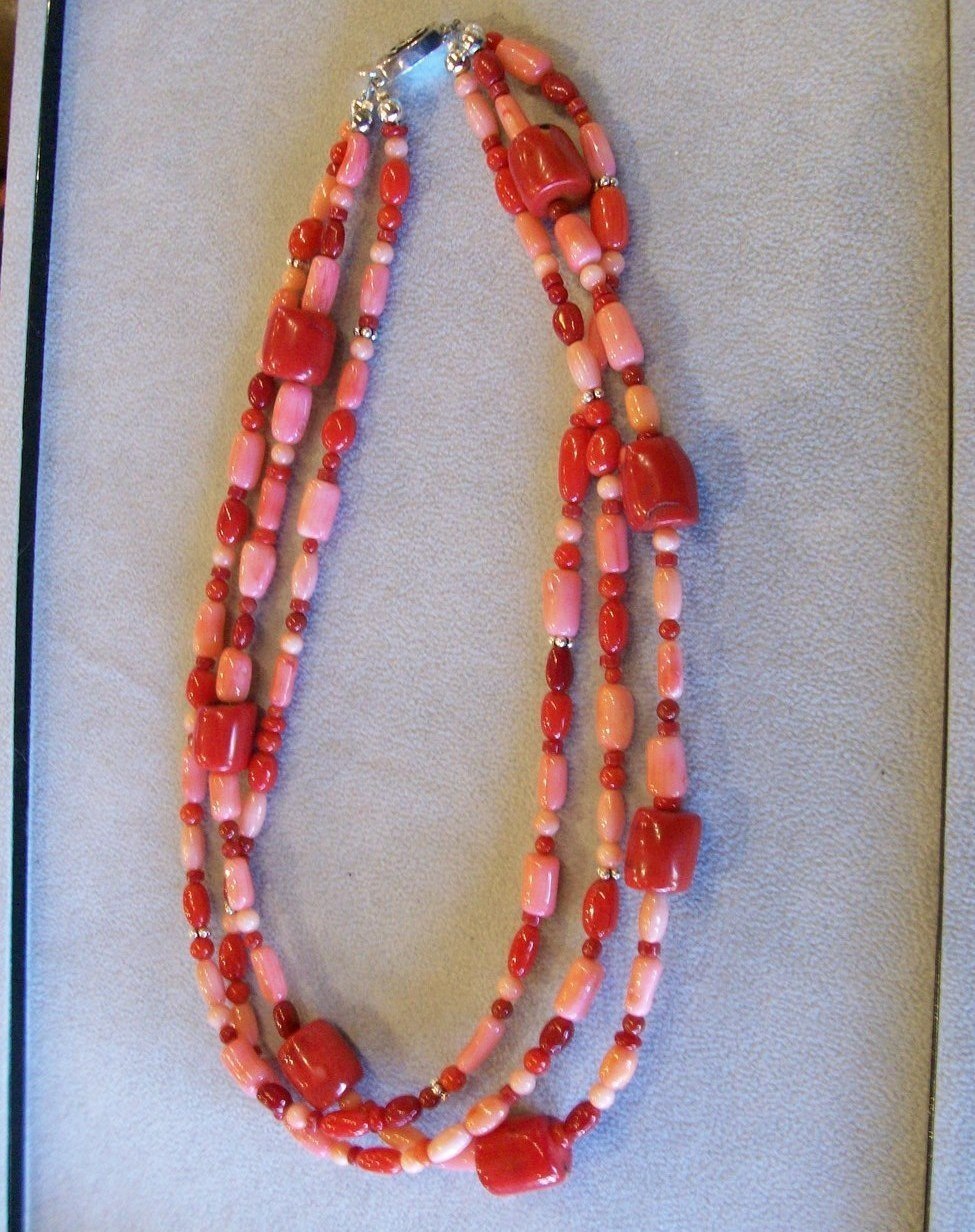 Handcrafted 3-Strand Coral Necklace, Sterling Closure, New