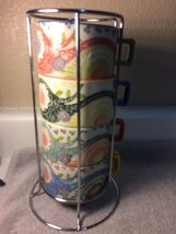 PIER 1 STACKED COFFEE MUGS --BRIGHT COLORS--ABSTRACT--IN STAND---FREE SH... - $26.89