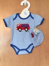 Baby Boy's Fire Truck Onesie & Hat Set 0-6 Months - $15.00