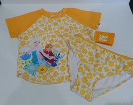 Disney Girls Swimsuit, Size 9/10, Frozen, Elsa & Anna, 2 Piece, Yellow  ... - $14.85