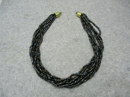 "Vintage Iridescent Black Seed Bead Necklace Gold Tone 8 Strands 19"" Long - $9.99"