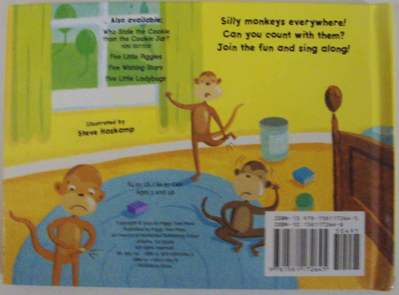 Five Silly Monkeys book illustrated Steve Haskamp published by Piggy Toes Press