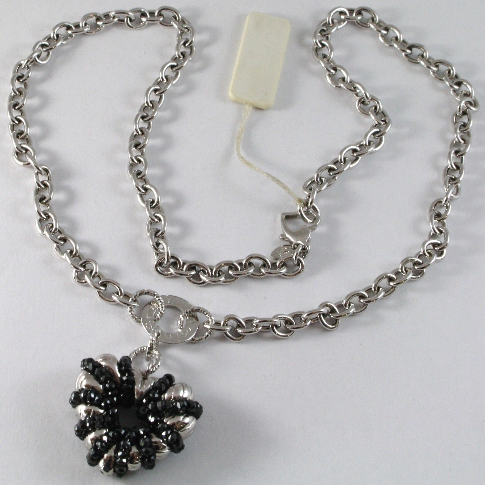 925 STERLING SILVER NECKLACE WITH SPINEL FINELY WORKED BIG HEART PENDANT, ITALY