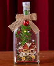 The Lakeside Collection Lighted Vintage Glass Bottles-Winter House - $16.23