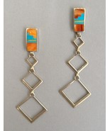 Long Dangle Earrings Native American Inlay Ster... - $240.00