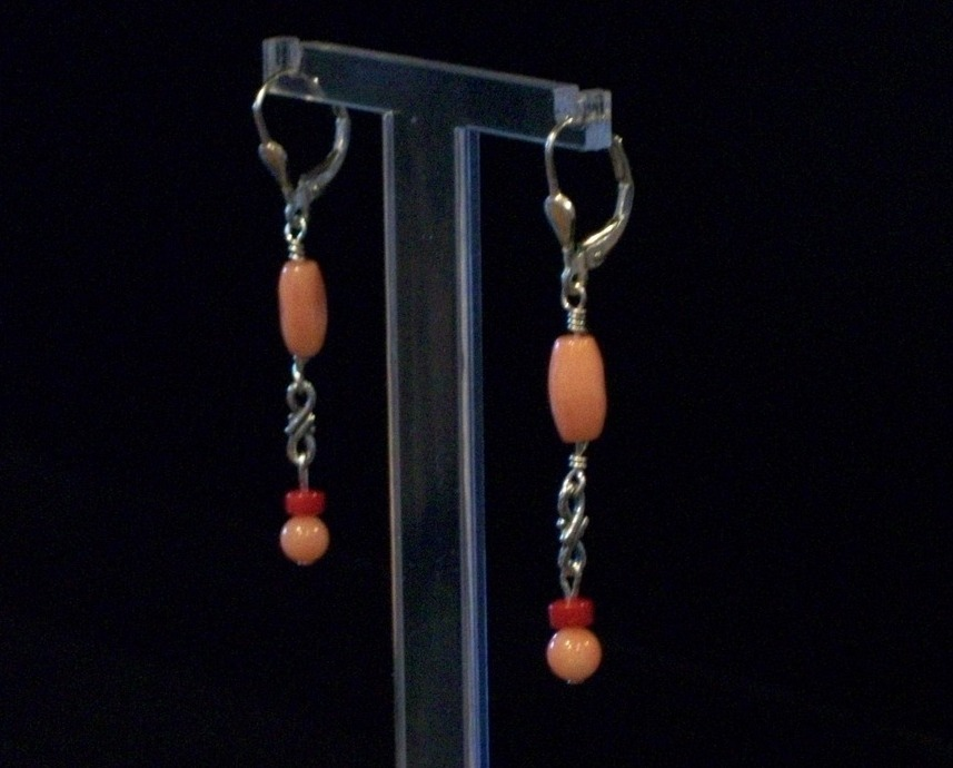 Handcrafted Coral Dangle Earrings On Sterling Silver Leverback, New