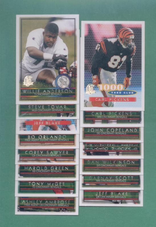 1996 Topps Cincinnati Bengals Football Team Set