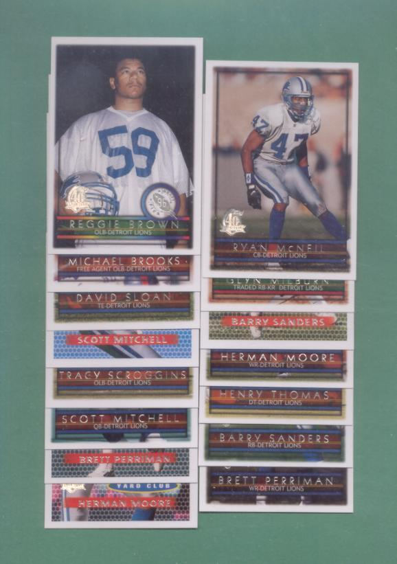 1996 Topps Detroit Lions Football Team Set